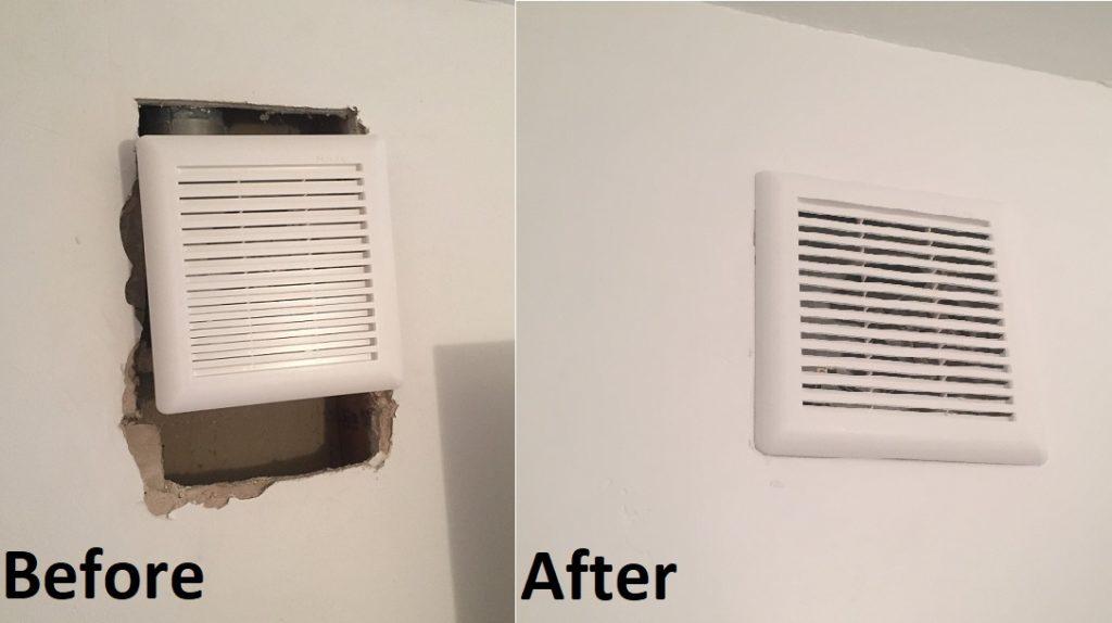 Bathroom fan drywall patch