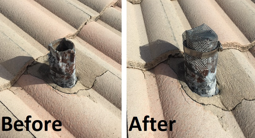 Roof vent screen installation