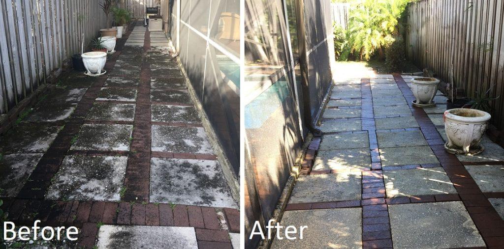 Power wash brick and concrete patio